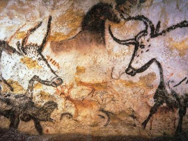 Fotografia: Malowidło naścienne w jaskini w Lascaux