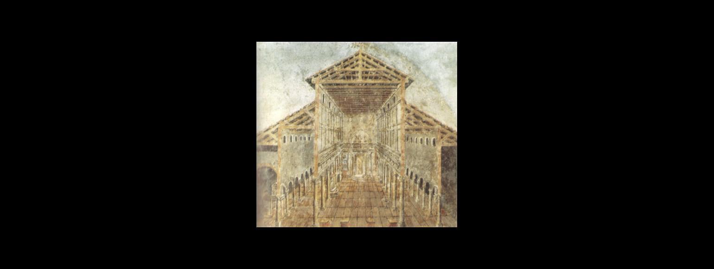 Fotografia: Rekonstrukcja i plan wczesnochrześcijańskiej bazyliki św. Piotra w Rzymie