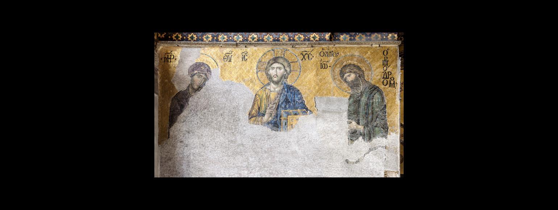 Fotografia: Mozaika z grupą Deesis w kościele Hagia Sophia w Konstantynopolu