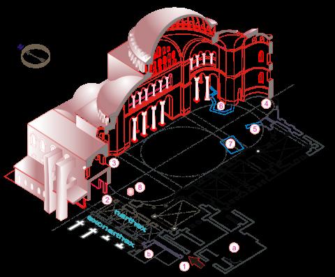 Fotografia: Kościół Hagia Sophia w Konstantynopolu – plan i przekrój
